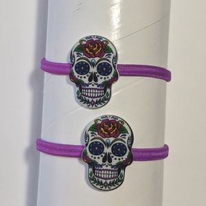 handcrafted Accessories - Six Hair Ties in Three Colors Sugar Skulls & Cameo
